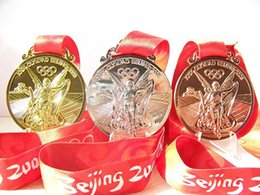 Wholesale 2008 Beijing Olympic Games Gold and Silver Copper Medals Set High Quality Badges For Collection With Stripes And Box DHL Free