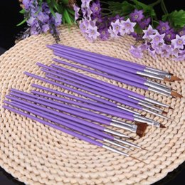 Hot Sale Professional Purple 19Pcs Nail Brushes Nail Art Design Painting Tool Pen Polish Brush Set Kit Nail Art Tools