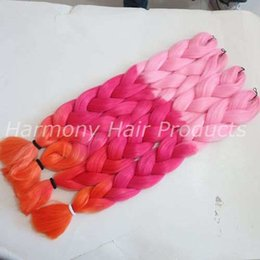 Synthetic Jumbo Braiding Hair 64inch 165g Pink&Light Red&Orange Ombre Three Tone Crochet Braids Synthetic Hair Extensions