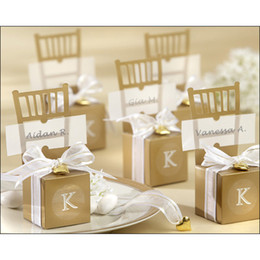 Wholesale Cute Gold silver Chair Wedding Favor Candy Boxes Ribbon Wedding Package Gift Box baby shower favor gift box
