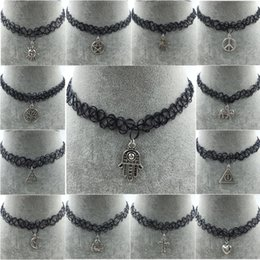 Wholesale Handmade Hot Selling Vintage Stretch Tattoo Choker Necklace Gothic Punk Grunge Henna Elastic Pendant Necklaces