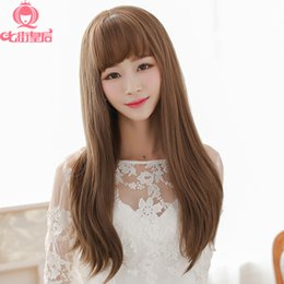 Female scroll fluffy wig hair long hair slightly curled wig with long straight hair wig bangs air jiafa
