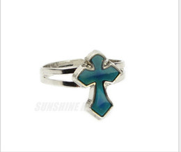 New Christian cross lovers ring Temperature the mood change ring open mouth mood ring