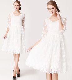New Fashion Women Organza Princess Embroidered Dress Lady Elegant Slim Knee-Length White Wedding Dresses