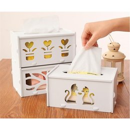 Wholesale Hollow Carved Wooden Tissue Box Case Holder Home Decor Storage Box