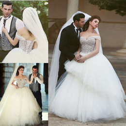 Luxury Beaded Crystal Wedding Dresses 2016 Rober Marige Ruched Sheer Tulle Back Lace Up Ball Gown Said Mhamad Arabic Bridal Gowns