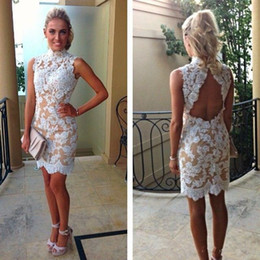 2019 Vintage Lace Cocktail Dresses High Collar White Lace Champagne Lining Backless Appliques Summer Fall Short Party Gowns Custom Made