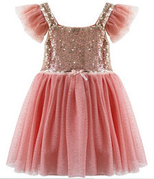 Wholesale Girls Spring Sequin Lined Tulle Party DressSequin Shiny Party Dresses Holiday School Performance dress Child TUTU Dresses pc melee