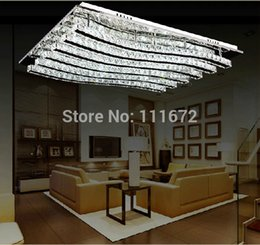 Wholesale Crystal Decorative Items - Wholesale-new items modern square LED chandelier crystal ceiling lamps L800*W600*h100MM, home decorative LED light free shipping