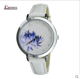 new Arrivals Enmex Chinese style blue and white lotus graceful female form pure lotus hand euphemism for women pebble cookoo wrist watches