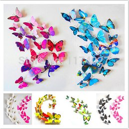 Wholesale Beatiful PVC d Butterfly Tatoos Wall Sticker Home Decoration Decals