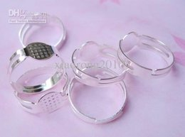 500pcs per lot Silver adjustable finger ring base blank findings glue on pad 18mm*8mm