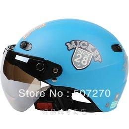"""Wholesale-B.43 Taiwan """" EVO """" ABS Cycling Bike Casco Open Face Helm Matte Blue MICKEY Motorcycle Helmet & UV """" W """""""