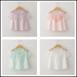 2015 Girls Fashion Sweet Lace Floral hollow out T-shirt kids Perspective blouse clothes short sleeve pink white DHL free MOQ:12pcs SVS0247#