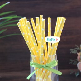 Free Shipping 25 pcs Yellow Drinking Straws,White Stars Pattern Paper Straws Wedding Party Birthday Decoration