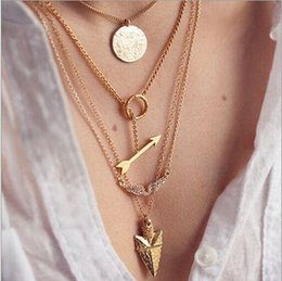 Wholesale Arrow angel wings hanging scales multilayer exaggerated necklace jewelry cheap Jewelry for women C065