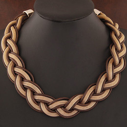 Statement Necklace Vintage Fashion Punk Big Metal Chain braid Twist Rope Chain Necklaces & Pendants Women Jewelry Accessories
