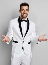 New Black & White Polester Standard Fit Two-Piece Tuxedo Sell Groom Tuxedos Set(Jacket+Pants+Tie bow) Business suit