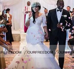 Plus Size Vintage Half Sleeve Mermaid Wedding Dresses Lace Applique Elegant Gowns Plus Size Custom Wedding Dress 2019 Hot Sale Sweetangel