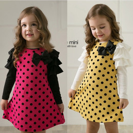 20pcs lot Polka Dot Girls Dresses Jumpers Long Sleeve Blouse Princess Children's Dress Kids One-Piece Clothes Skirts 100% Cotton