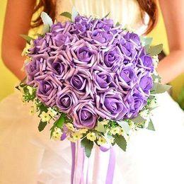 Скидка красные синие цветы 2015 Романтический Красный Фиолетовый Синий Пять цветов роз Свадебный букет невесты Свадебный букет невесты Холдинг Роза Buque De Noiva J1614