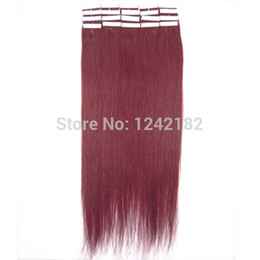 wholesale queen hair products peruvian 30inch hair human Skin weft 100g 40pcs lot Tape hair extension #99J Red Wine