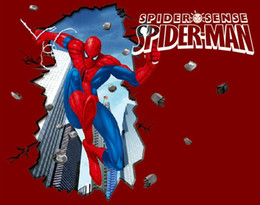 Wholesale 70 CM Heavy spider man D effect can be moved plane wall stickers frozen wallpaper HK17