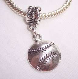 Baseball Softball Sports Ball Dangle Bead fits European Charm Bracelets 30 mm x 14 mm x 2 mm