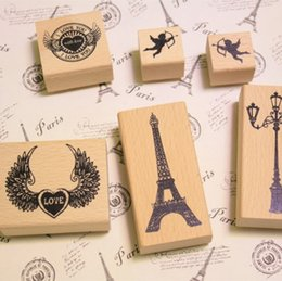 Wholesale-Free shipping 5 Styles DIY Scrapbooking Vintage Stamp Wood Stamps Diary Decoration Seal 1lot=1pcs