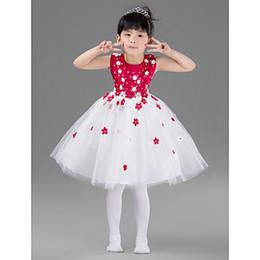 Cenicienta niños vestido del partido en Línea-Cenicienta vestidos de niña de flor longitud de la rodilla blanco y rojo vestido de fiesta Vestido de fiesta de cumpleaños de los niños 2015 vestido de desfile de las niñas patrones princesa