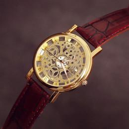 Mujer del estilo de reloj resistente al agua en Línea-2015 nuevo estilo mecánico de la correa de cuero de las mujeres de los hombres de pulsera de la manera reloj de cuarzo resistente al agua relojes unisex del regalo