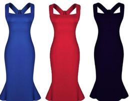 Promotion bleu peplum robe noire Robe de sirène sans volants Robe de soirée Sexy Girls, Robe de vente 2015, chaud, bleu, rouge