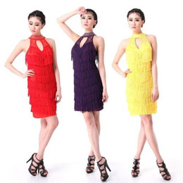 2015 Ladies Ballroom Latin Dance Costume Fringed Skirt Latin Salsa Rumba Tango Dancewear Celebrity Dresses