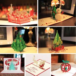 Handmade Merry Christmas Greetings Cards Kirigami 3D Pop up Card 7styles lots Combination Hot Sale Free Shipping