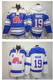 2016 New, Fast , Quebec Nordiques Hoodie Sweatshirt #19 Joe Sakic blue white Home Old Time Hockey Fleece Hoodie Sweatshirt