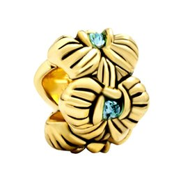 Factory directly sale Gold Plating Blue Crystal Charms Orchid Flower Bead For Pandora European DIY Bracelet