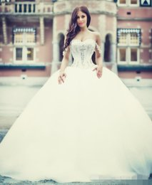 Hot Sale Wedding Dresses Princess Ball Gown Bridal Gowns with Beads Sweetheart Sexy Back Tulle Long Bride Dress