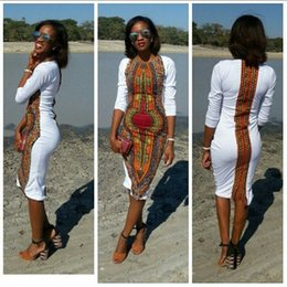 Wholesale Hot sale african traditional style white print sexy dress long sleeve back split africa women summer dress