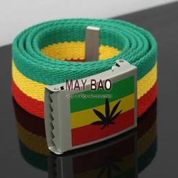 Wholesale Bob Marley Belt Adjustable Herb Canvas Belt Selassie Jamaica Rasta woven girdle Rastafari Africa Bob Marley Ganjah textile girth pc