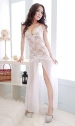 Wholesale Sexy Chiffon Sheer Babydoll - w1022 2014 Summer Sexy White Sheer Lace Babydoll Dress For women Long Gown Sleepwear
