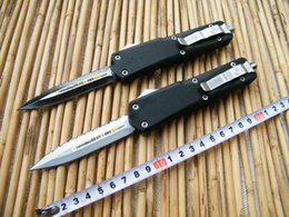 Wholesale Microtech combat troodon Tactical Knife Aluminum Handle double edge Full Serrated side white Black blade