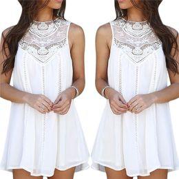 Wholesale Women Girl s Casual Vintage A Line Short Dress Shirt Tops Chiffon Lace Crochet Sleeveless Including Asia S XXL Size ED233