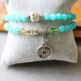 Wholesale 2015 mm Blue Jade Bracelet Retro Alloy Copper Coins Pendant Female Jewelry Bracelet Multilayer Chain Necklace Natural Stone