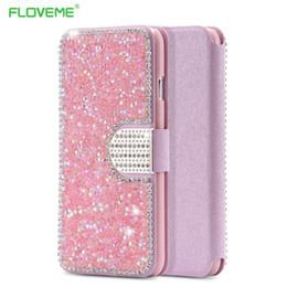 I6 Caja rosada de la carpeta de Bling de la muchacha para el iPhone 6 6S Forma la cubierta cristalina completa de la ranura para tarjeta para el iPhone 6 4.7 / 6S con el bolso de la hebilla del diamante desde iphone bling la rosa proveedores