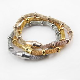 New Gift For Mother Stainless Steel Women Mesh Beads Chain Bracelets Magnet Clasp Fashion Design