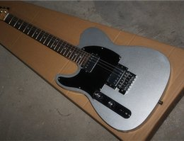 Left-handed Electric Guitar with Silvery Body and Black Pickguard,Chrome Hardwares,Can be Customized as Request
