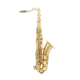 Wholesale LADE Brass Bb Tenor Saxophone Sax Carved Pattern Pearl White Shell Buttons with Case Gloves Cleaning Cloth Grease Belt Brush