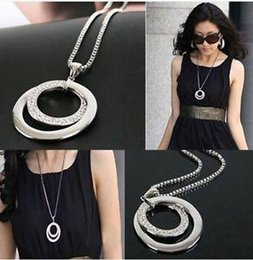 Wholesale retail Fashion Women Jewlery Long Pendant Necklace Chain Crystal Rhinestone Silver