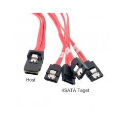 Wholesale 100pcs Mini SAS i Pin SFF Host to SATA pin hard disk target Fanout Raid Cable m with Latch Red color By Fedex