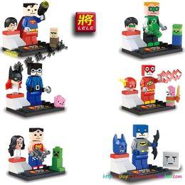 Wholesale 6pcs set Super Heroes Justice League Minifigures Wonder Woman Superman Green Lantern Flash Batman Building Blocks LELE79022